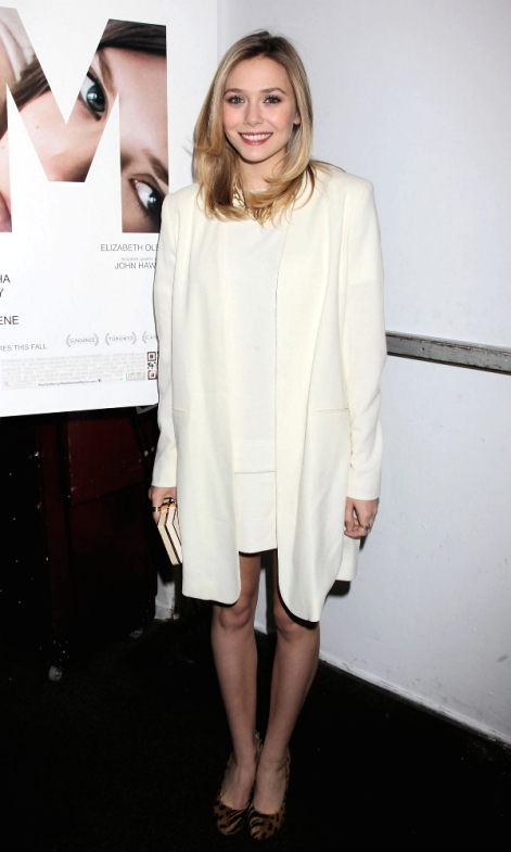 Olsens-Anonymous-Blog-Elizabeth-Olsen-Classic-Whites-And-Animal-Print-Heels-Tuxedo-Jacket-Mini-Dress-Pink-Lips-Smile